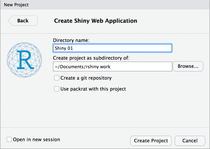 create a shiny web application as a new project