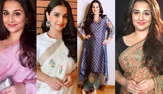 Vidya Balan flaunts her statement saree style for Shakuntala Devi promotions