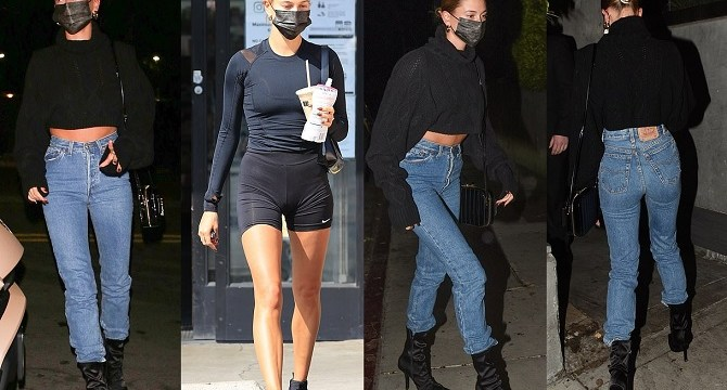Hailey Bieber flaunts taut tummy in cropped sweater at dinner in LA