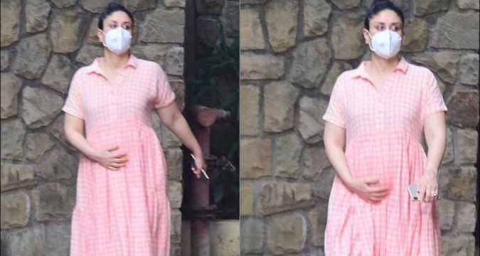 Kareena Kapoor Khan does maternity fashion right in a dainty pink and white checkered maxi dress