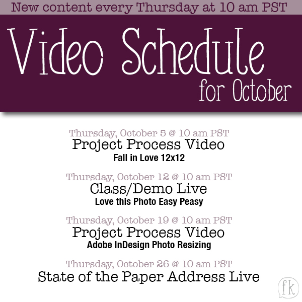 October Video Posting Schedule
