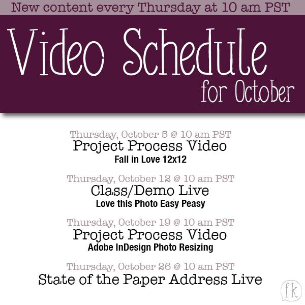 October Video Posting Schedule