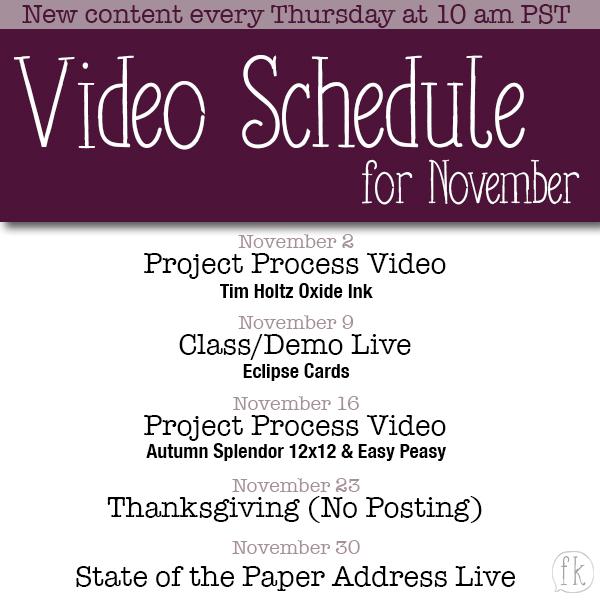November Video Posting Schedule