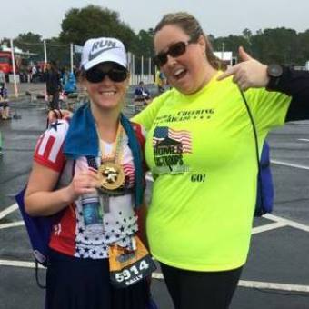 Not a case of imposter syndrome in fitness because it's me at the finish line of the Disney World Marathon, my first marathon.