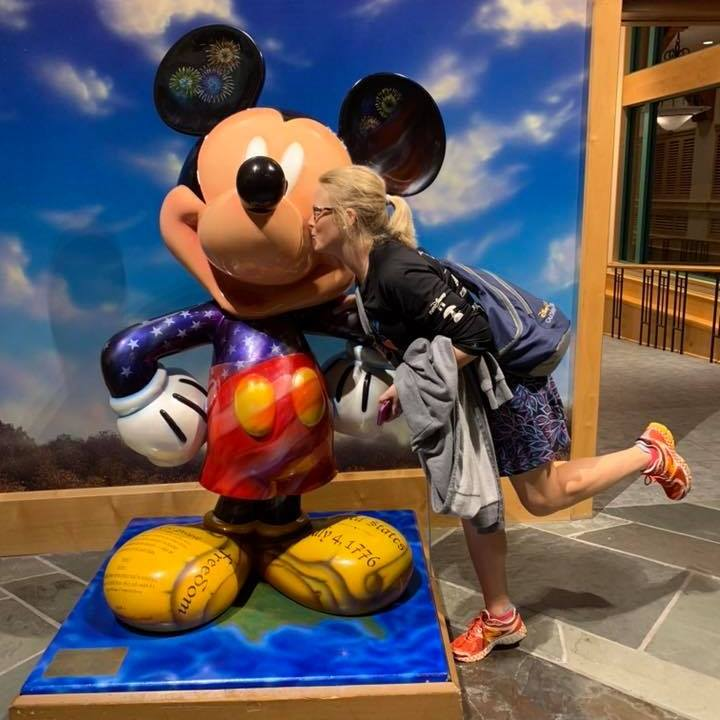 Mickey statue in the lobby of Shades of Green Resort. This Resort is a great option for Military Discounts at Disney.