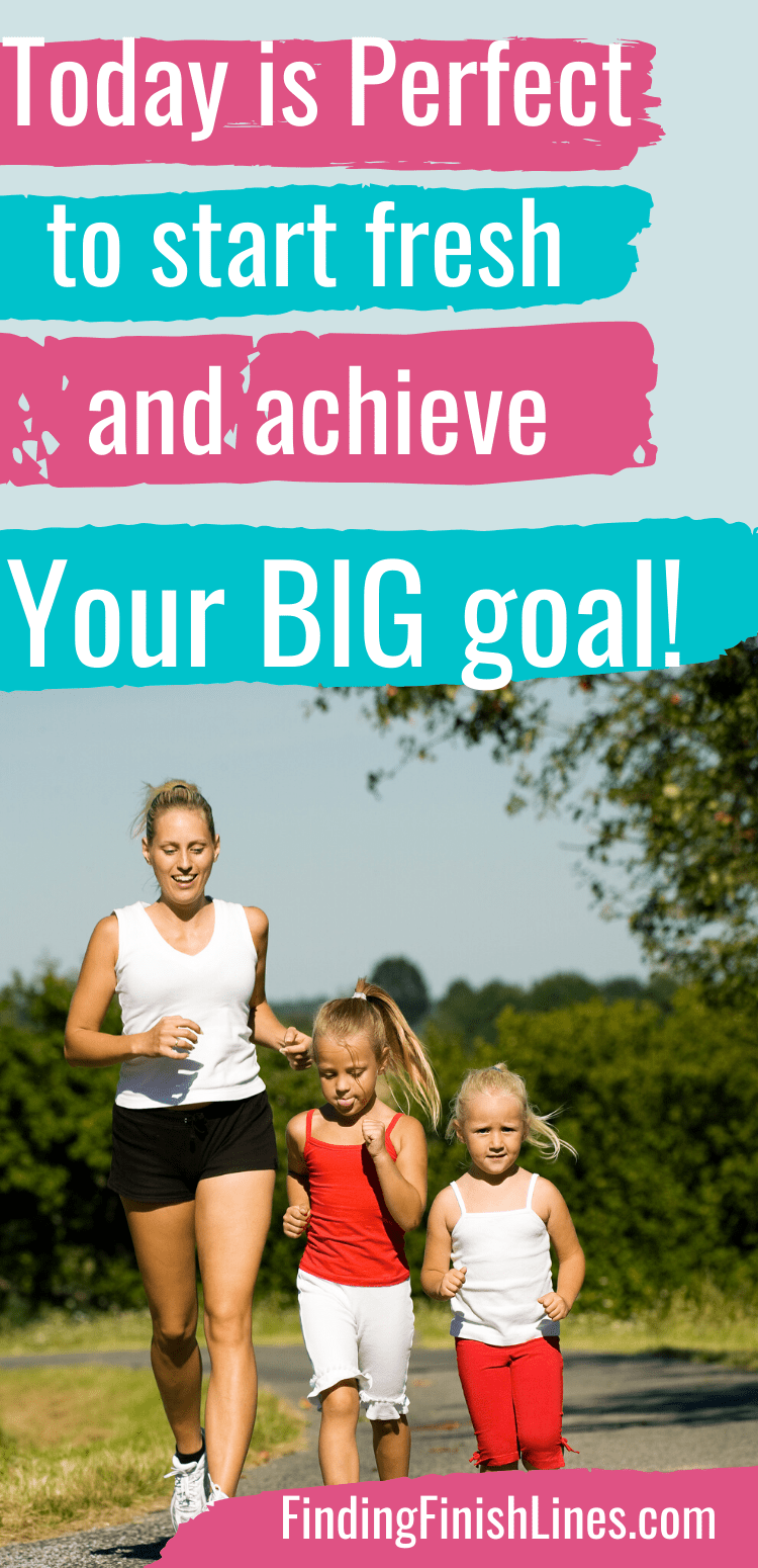 Mom and daughters running because mom decided to start somewhere with new healthy habits.