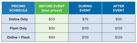 Summit pricing schedule