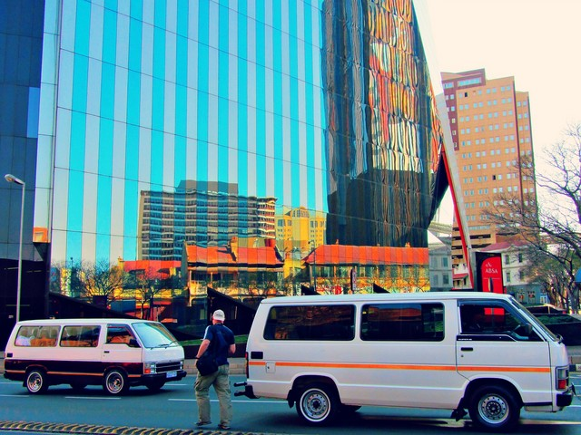Taxis in front of the old JSE
