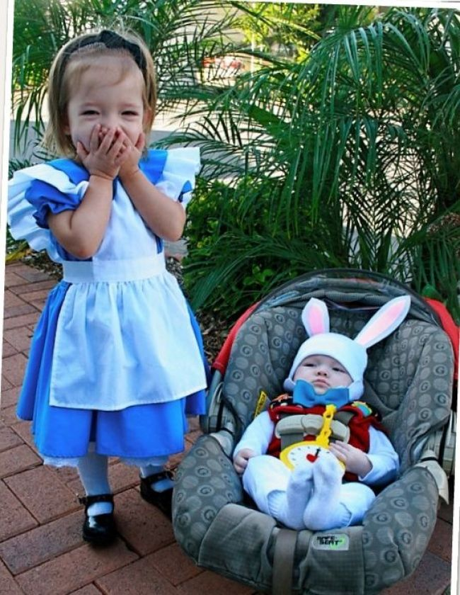 Alice and the white rabbit Halloween costumes for siblings