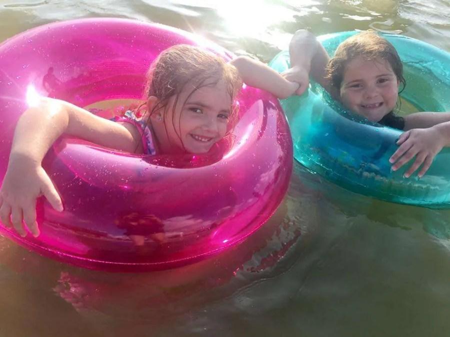 Children floating on White Lake North Carolina