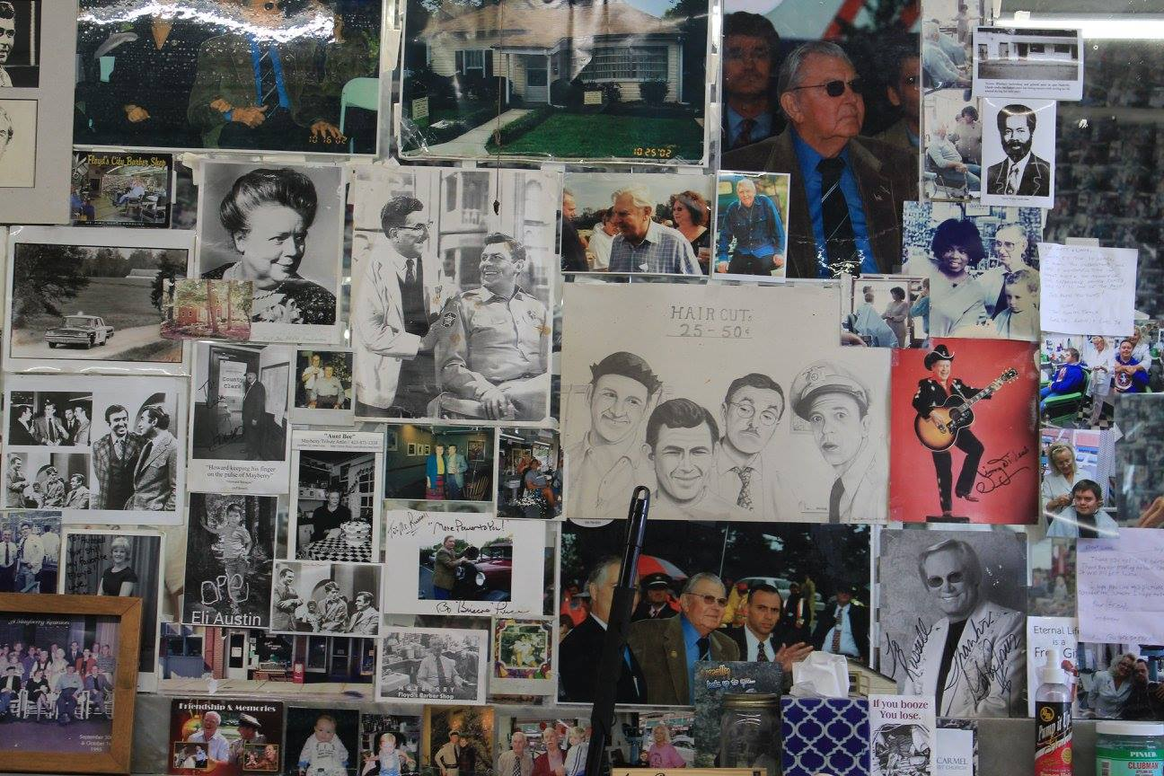 celebrity photos at Floyd's Barber Shop in Mount Airy, North Carolina