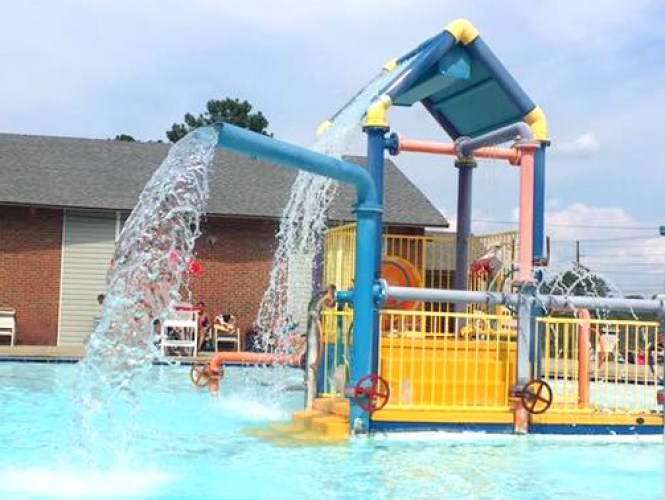 Water playground in Chalmer's Pool in Fayetteville, North Carolina