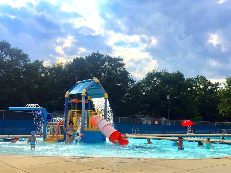 splash play area at Chalmers pool Fayetteville