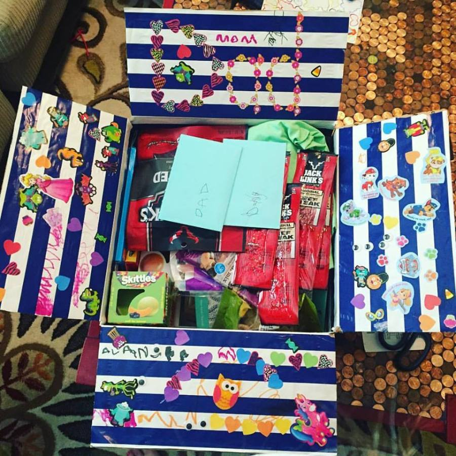 care package decorated by kids