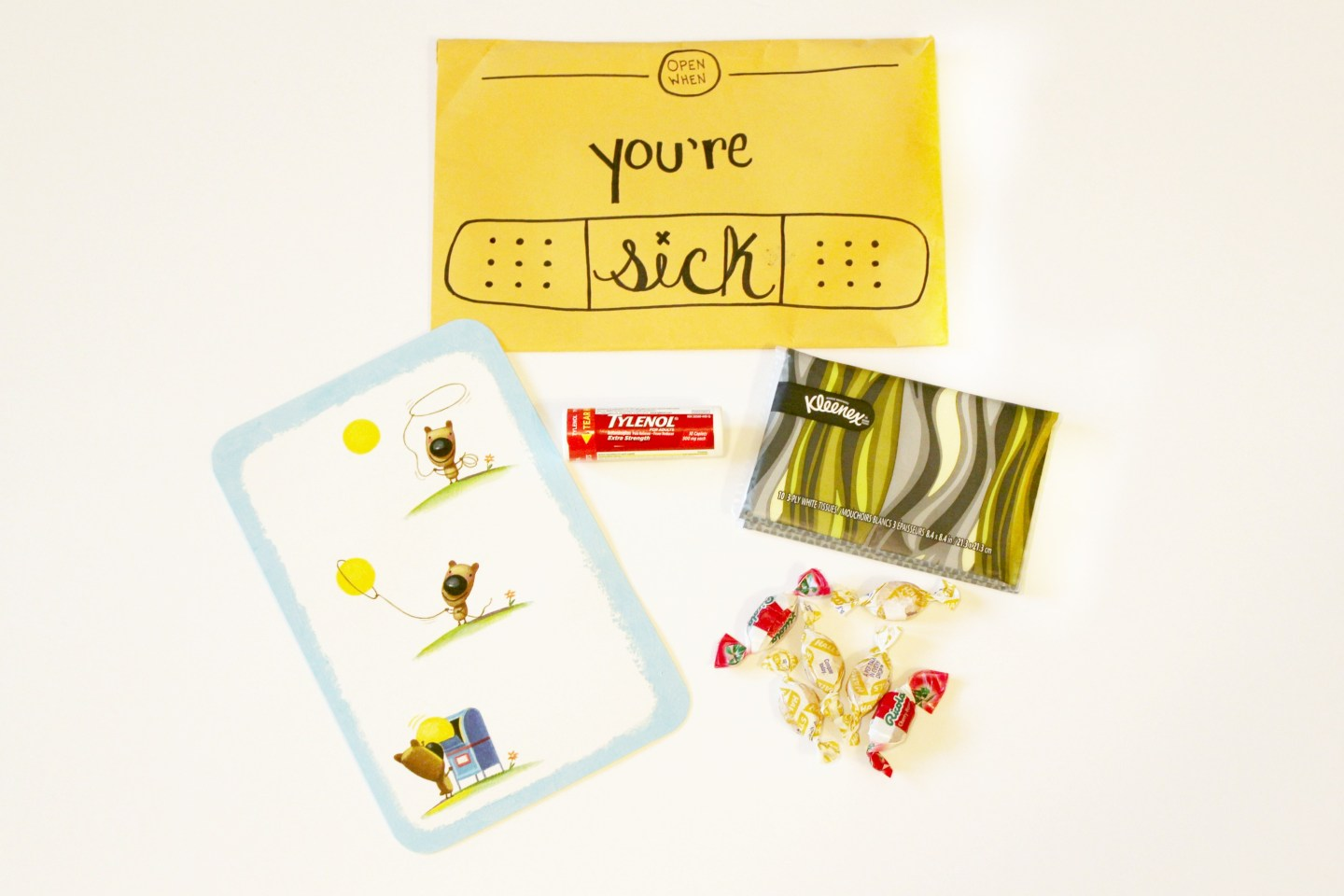 open when letter: open when you are sick