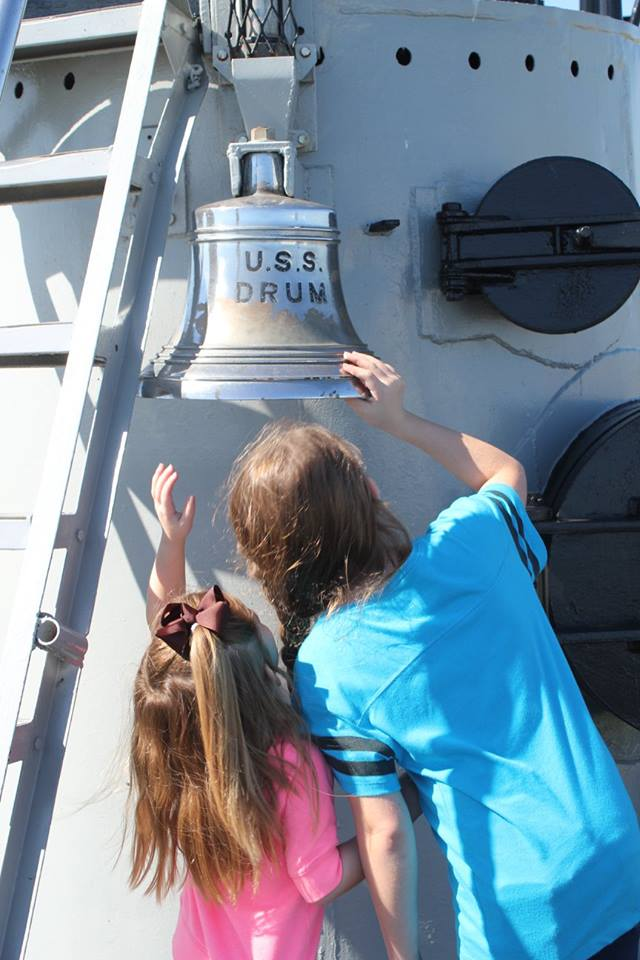 bell on deck of the USS Drum