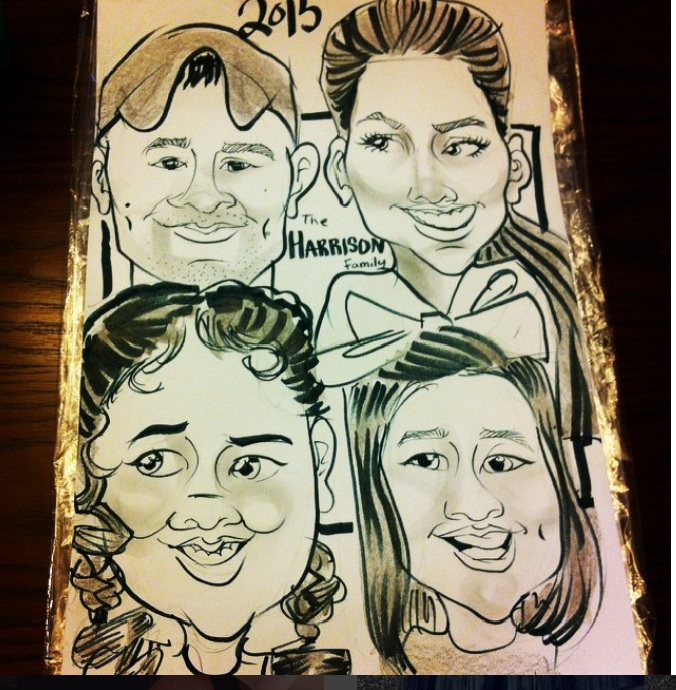 family caricature drawn at the Houston Aquarium