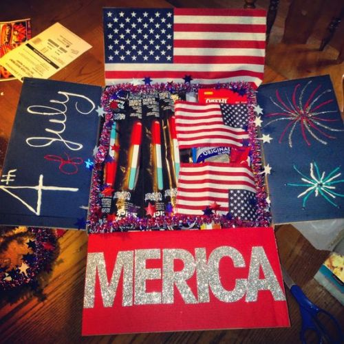 patriotic care package that says 4th of July and 'Merica