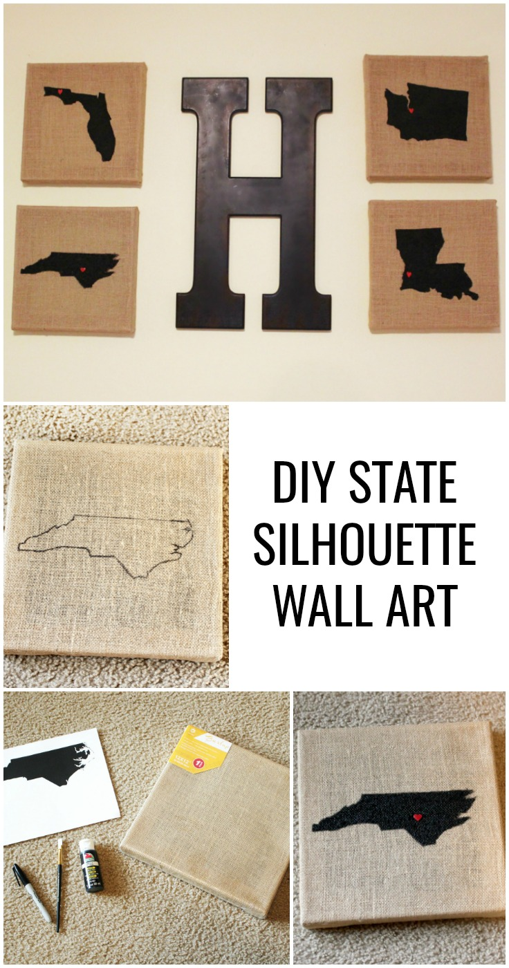 DIY State Silhouette Wall Art - home is where the army sends us