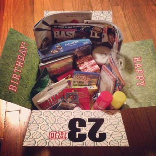 baseball-themed birthday care package