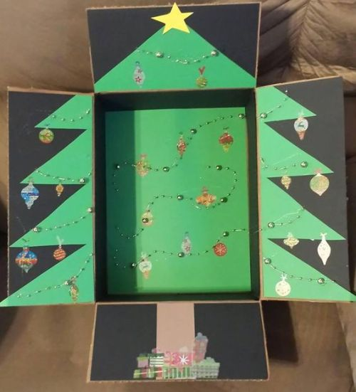 Christmas care package box decorated like a Christmas Tree