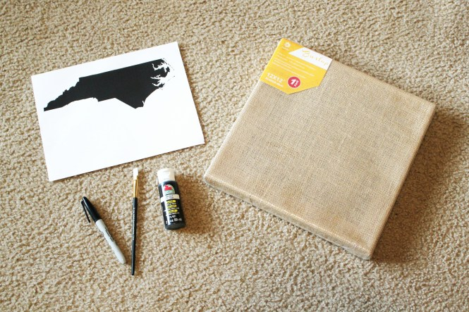 the supplies needed to make state silhouette wall art