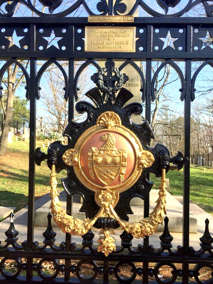 The gate to Thomas Jefferson gravesite at Monticello.