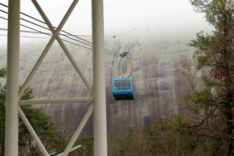 The Summit Skyride heading up Stone Mountain.
