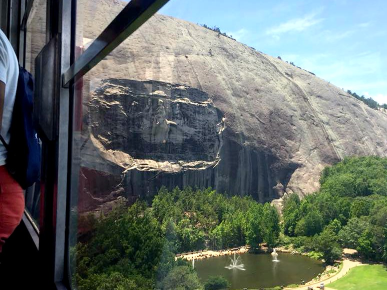 View of the Stone Mountain carving from the Summit Skyride.