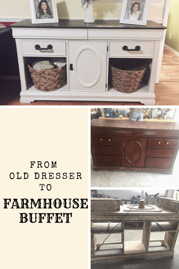 From an old dresser to a farmhouse buffet! See the tutorial at Finding Mandee