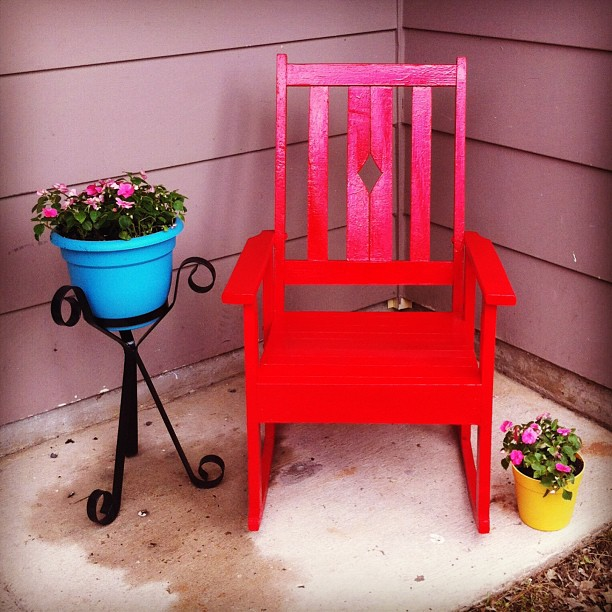 This old wooden rocking chair is one of our brightest DIY projects.