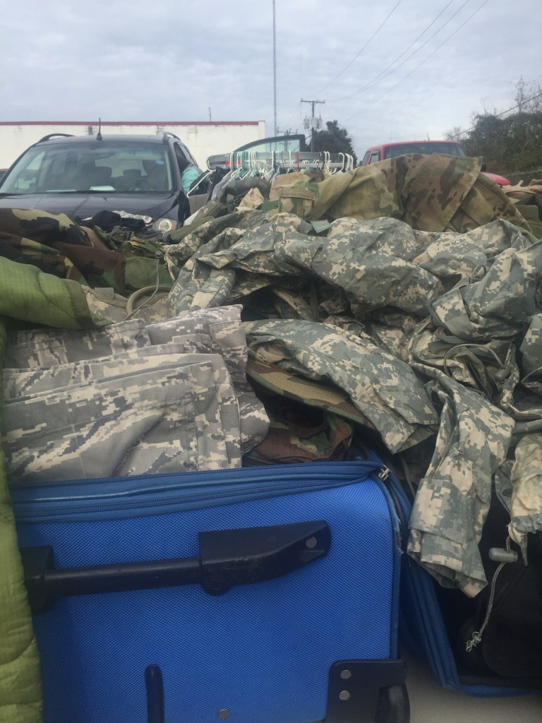 Army surplus at the flea market in Fayetteville.