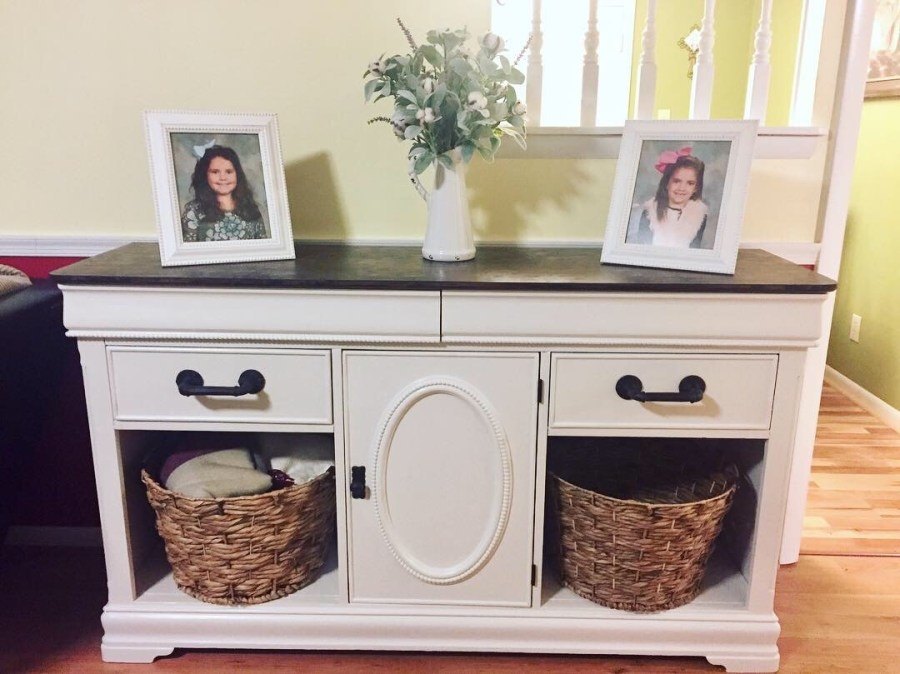 The final product when we made an old dresser into a farmhouse buffet.