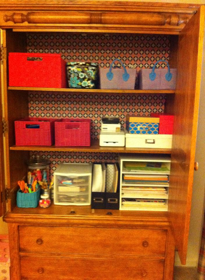 We turned an old entertainment center into a craft supply storage center.