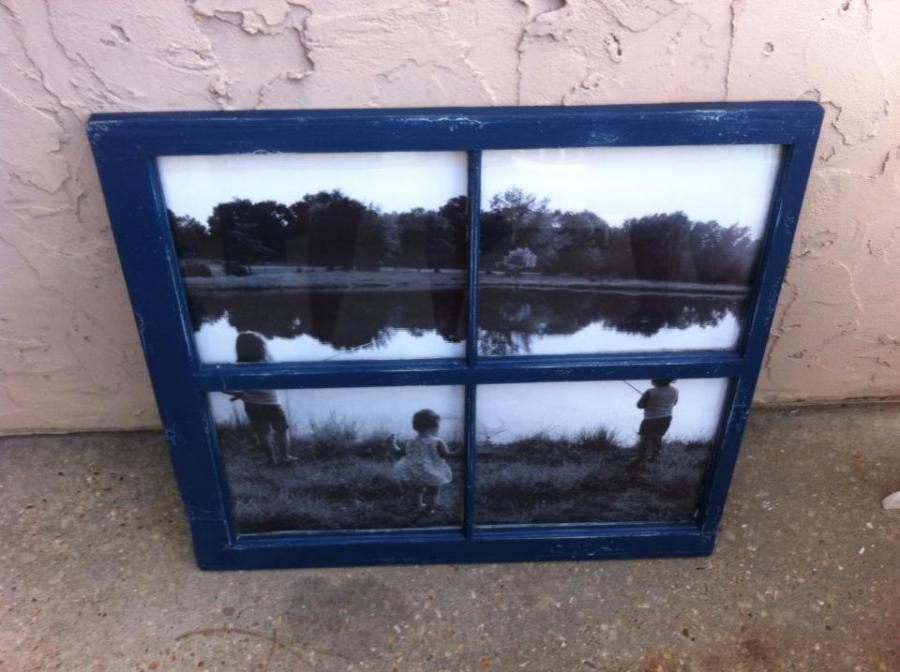 We turned this old window into a picture frame.