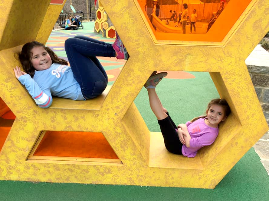 Kids playing on the honey bee inspired playground at the zoo.