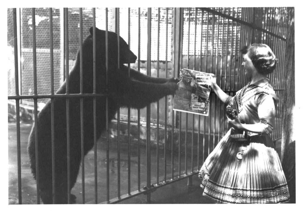 Smokey Bear and Judy Bell at the National Zoo in Washington D.C.