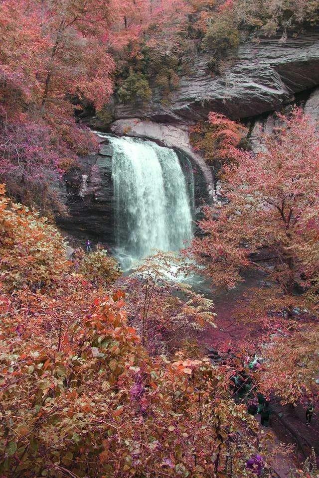 North Carolina waterfall during autumn.