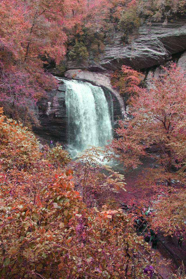 North Carolina waterfall during autumn.