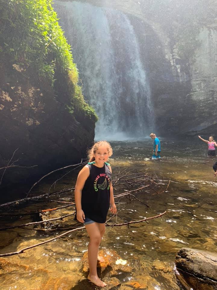 Wading at Looking Glass Falls in Brevard, NC.