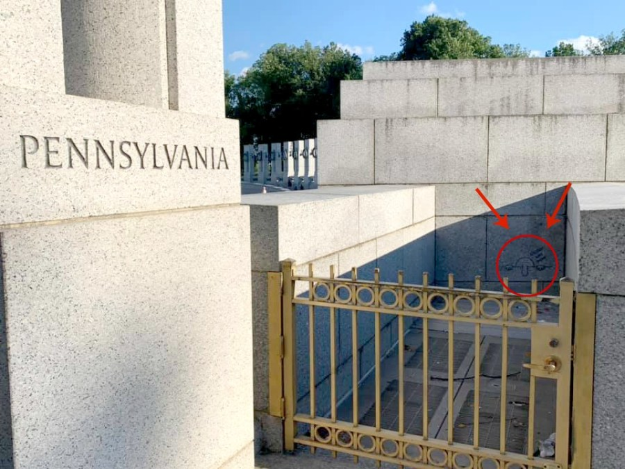 How to find Kilroy at the WWII Memorial in the National Mall.