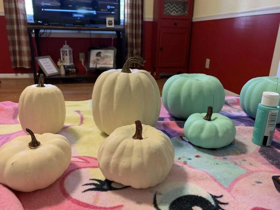 The finished DIY farmhouse pumpkins