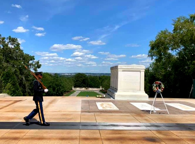 The changing of the guard ceremony at Arlington.