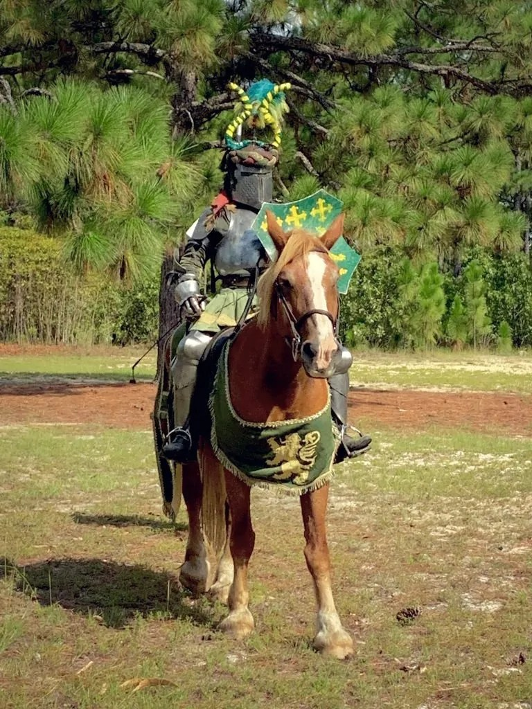Knight after jousting at the Fort Bragg Renaissance Fair.