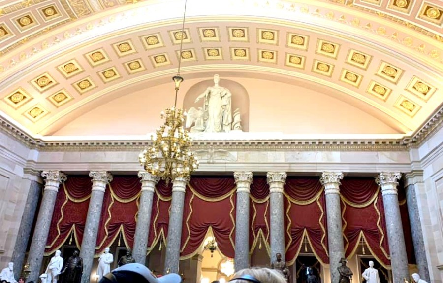 Inside the Statuary Hall at the U.S Capitol Building.
