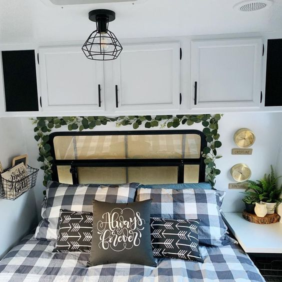 Mixing patterns is a great idea in a farmhouse camper interior.