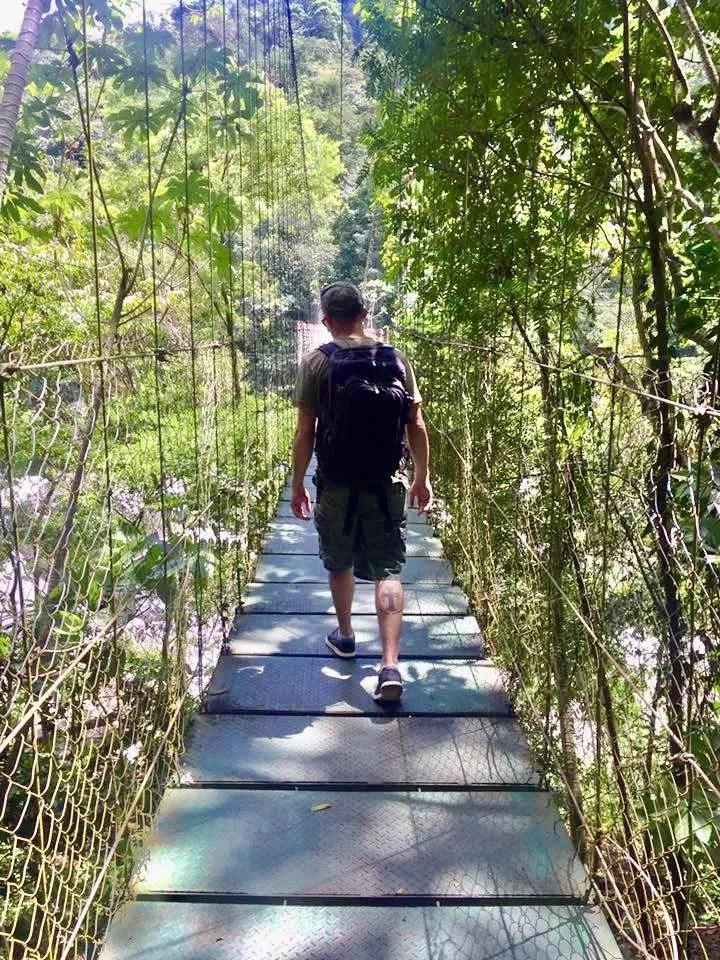 Crossing the Cangrejal River in Honduras.