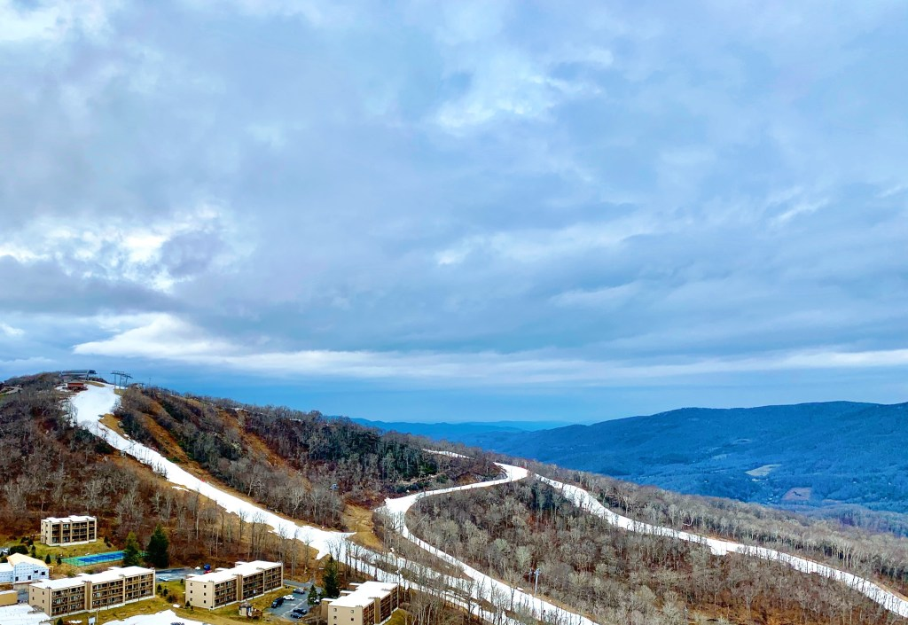 The view of the ski slopes from our condo at Sugar Mountain Resort.