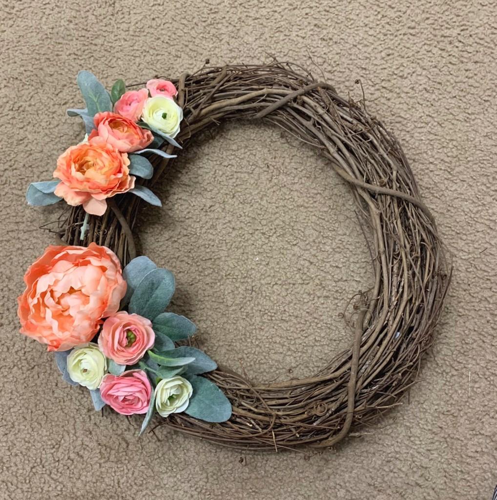 Step 4: Add flowers to peony wreath.