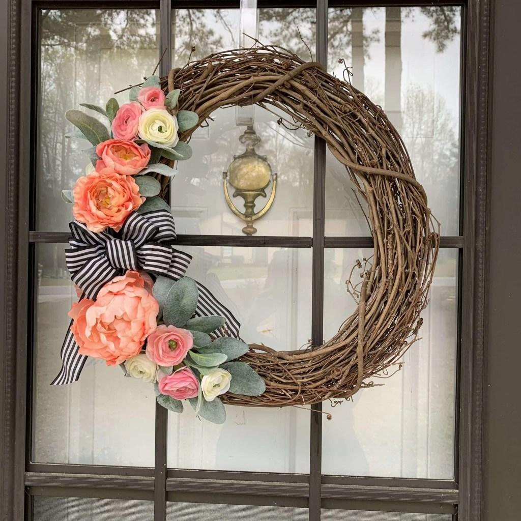 Peony wreath for front door.